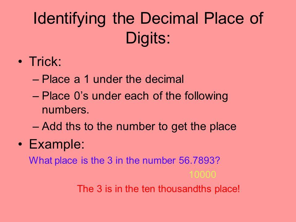 Identifying the Decimal Place of Digits: