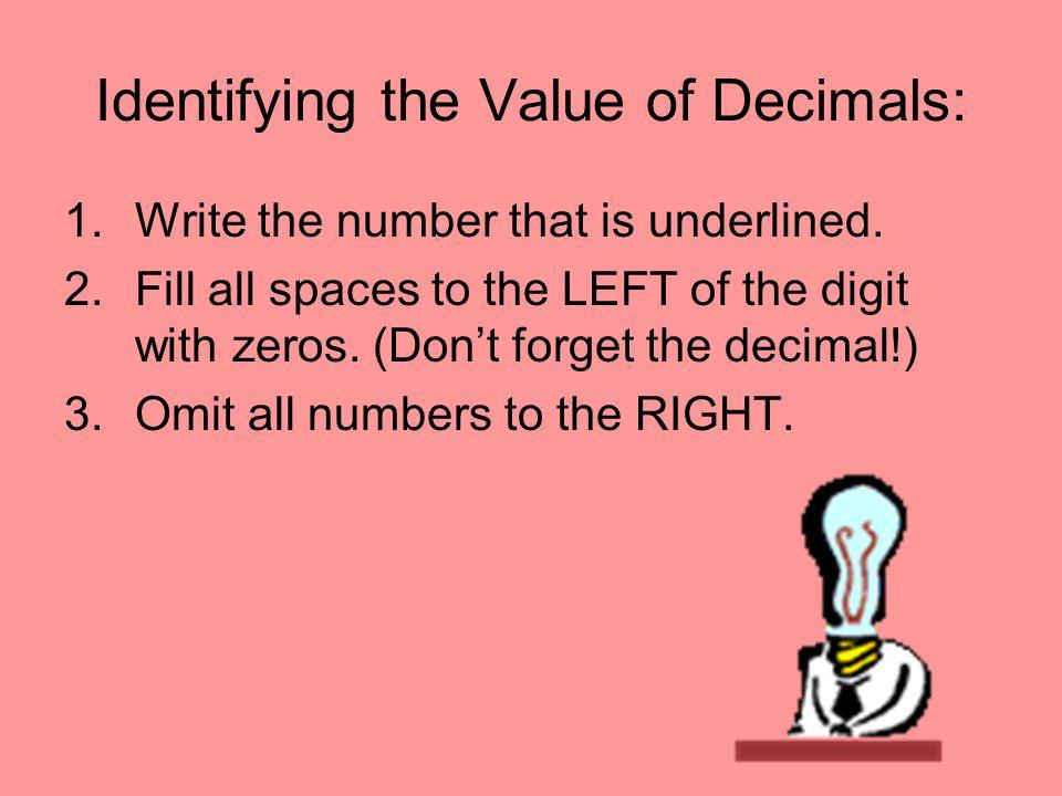 Identifying the Value of Decimals: