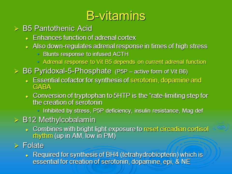 B-vitamins B5 Pantothenic Acid