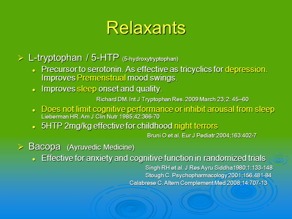 Relaxants L-tryptophan / 5-HTP (5-hydroxytryptophan)