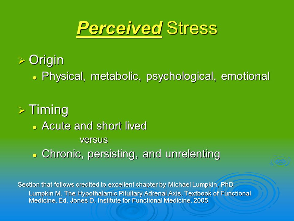 Perceived Stress Origin Timing