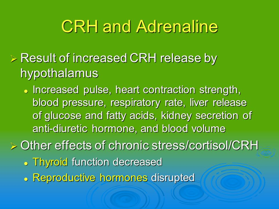 CRH and Adrenaline Result of increased CRH release by hypothalamus