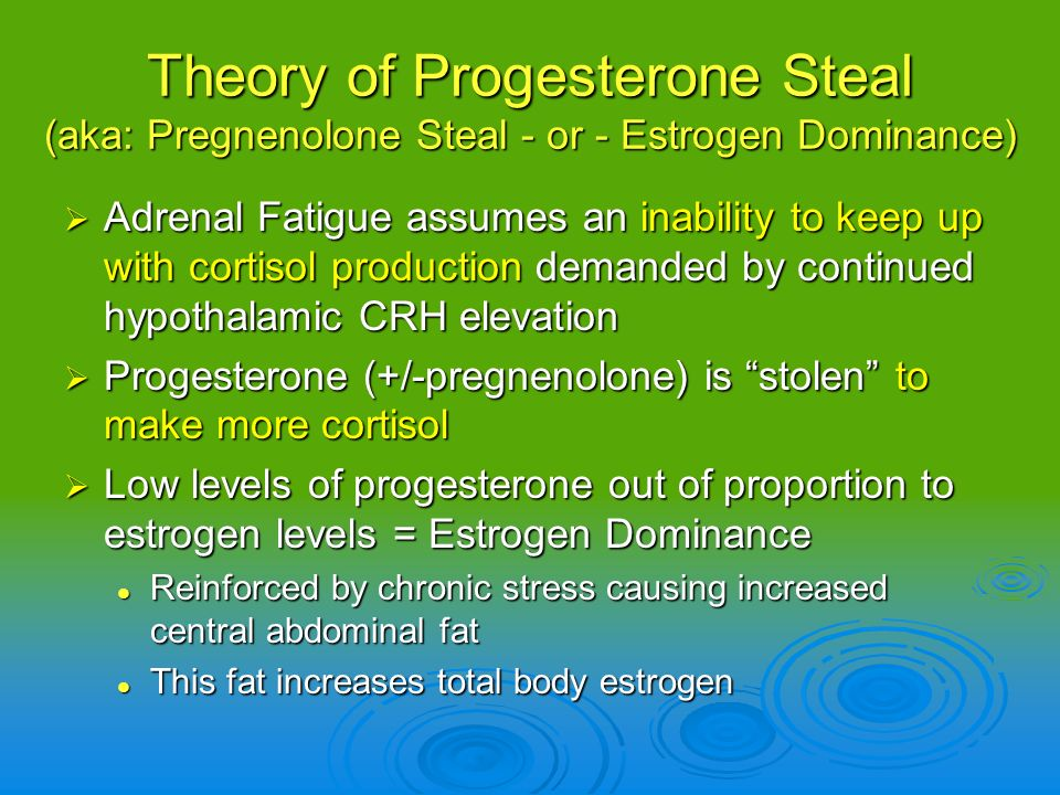 Theory of Progesterone Steal (aka: Pregnenolone Steal - or - Estrogen Dominance)