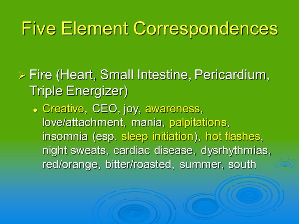 Five Element Correspondences