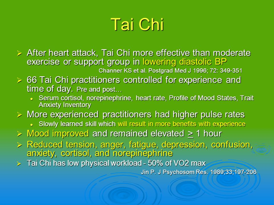 Tai Chi After heart attack, Tai Chi more effective than moderate exercise or support group in lowering diastolic BP.