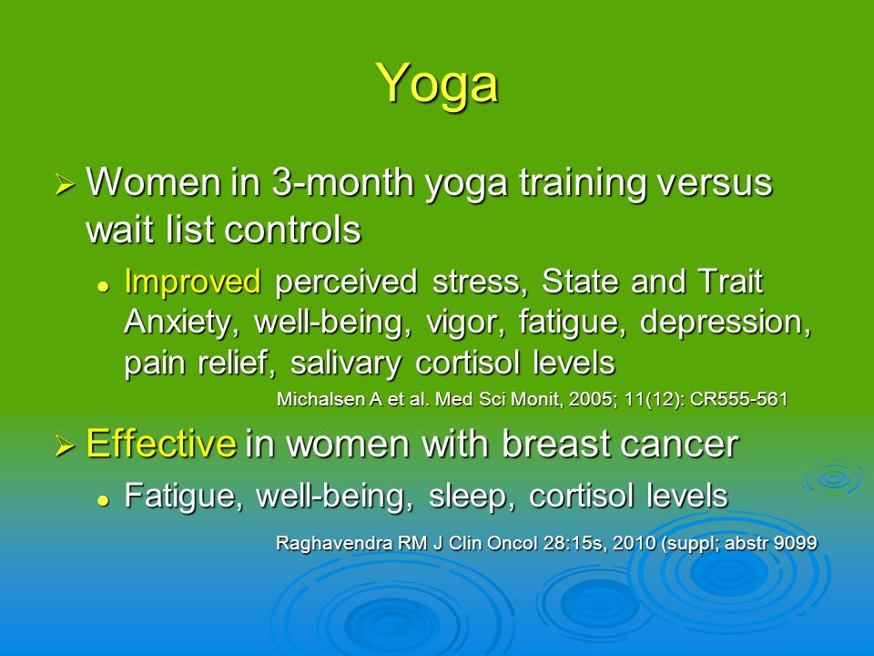 Yoga Women in 3-month yoga training versus wait list controls