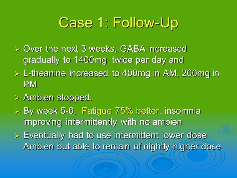 Case 1: Follow-Up Over the next 3 weeks, GABA increased gradually to 1400mg twice per day and. L-theanine increased to 400mg in AM, 200mg in PM.