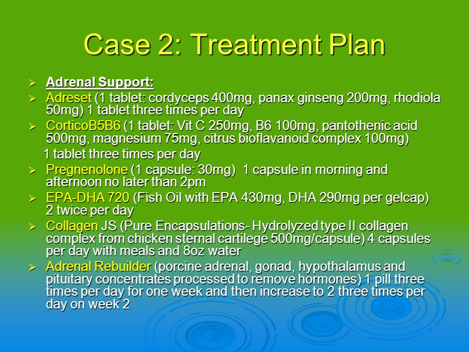 Case 2: Treatment Plan Adrenal Support: