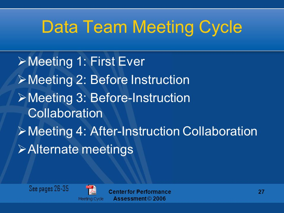 Data Team Meeting Cycle