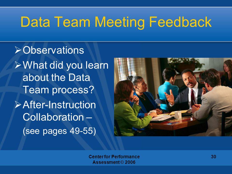 Data Team Meeting Feedback