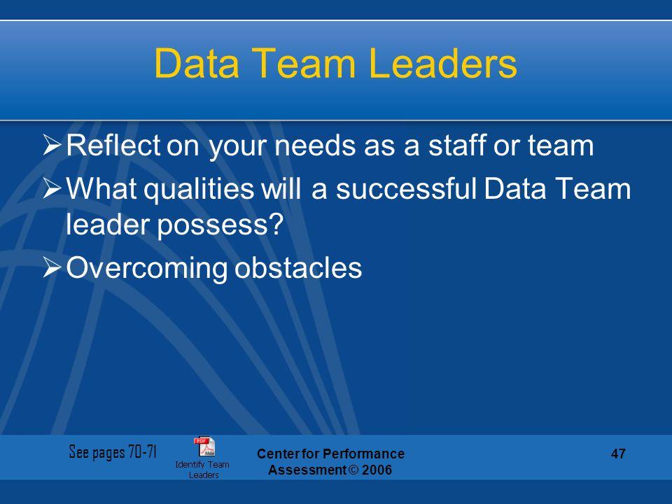 Center for Performance Assessment © 2006