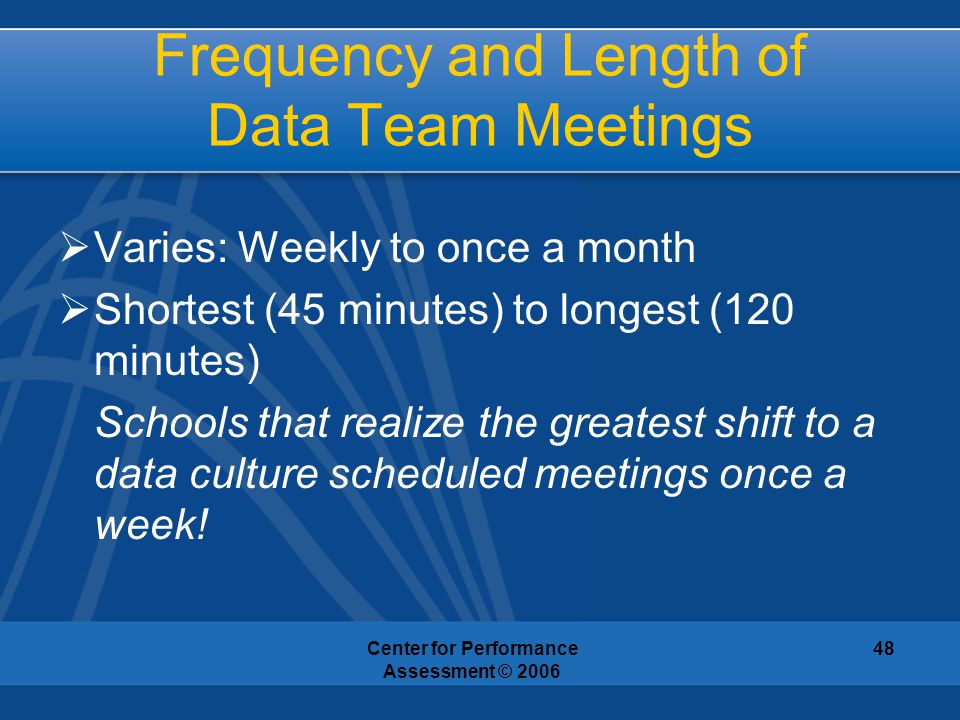 Frequency and Length of Data Team Meetings