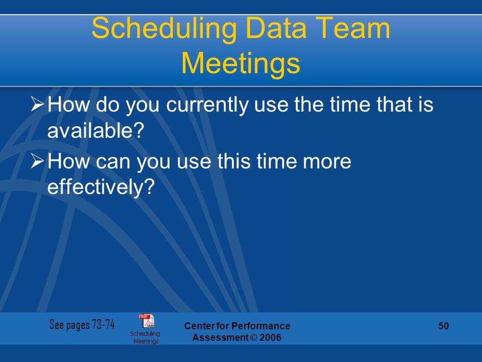 Scheduling Data Team Meetings