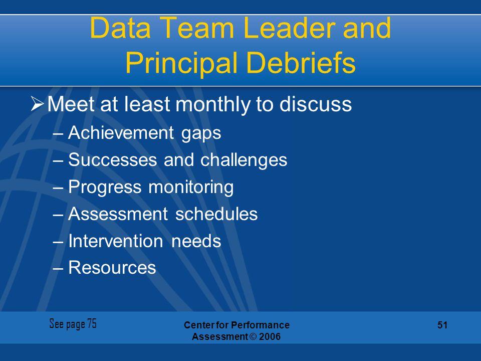 Data Team Leader and Principal Debriefs