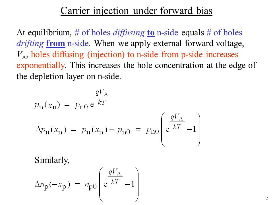Carrier injection under forward bias