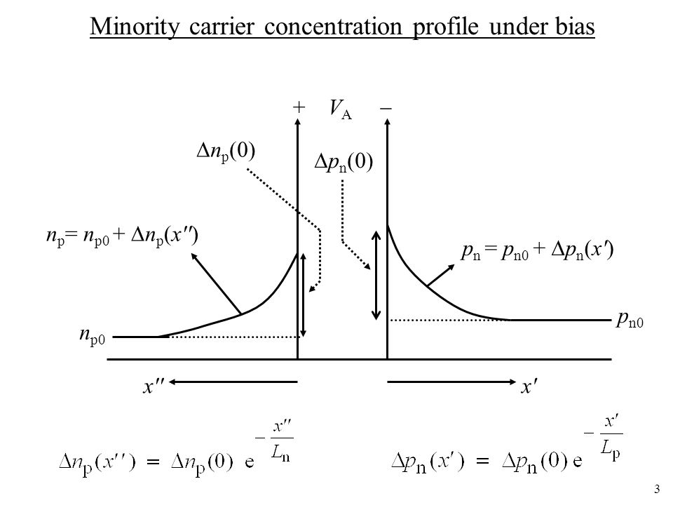 Minority carrier concentration profile under bias