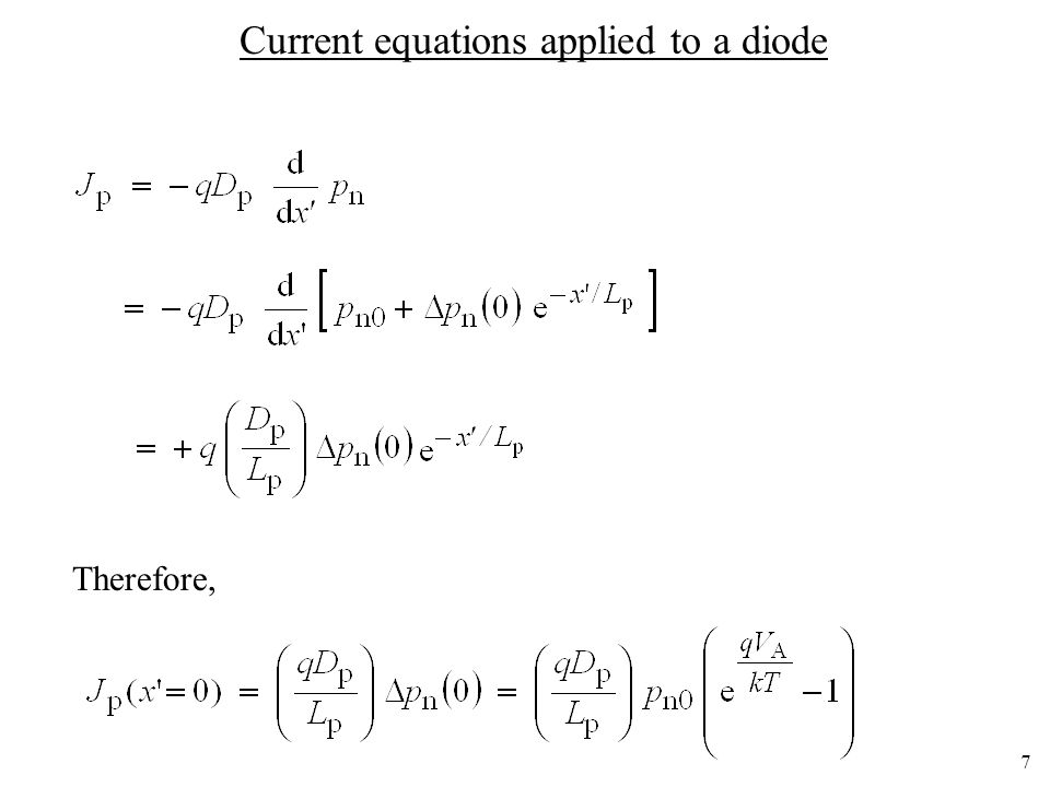 Current equations applied to a diode