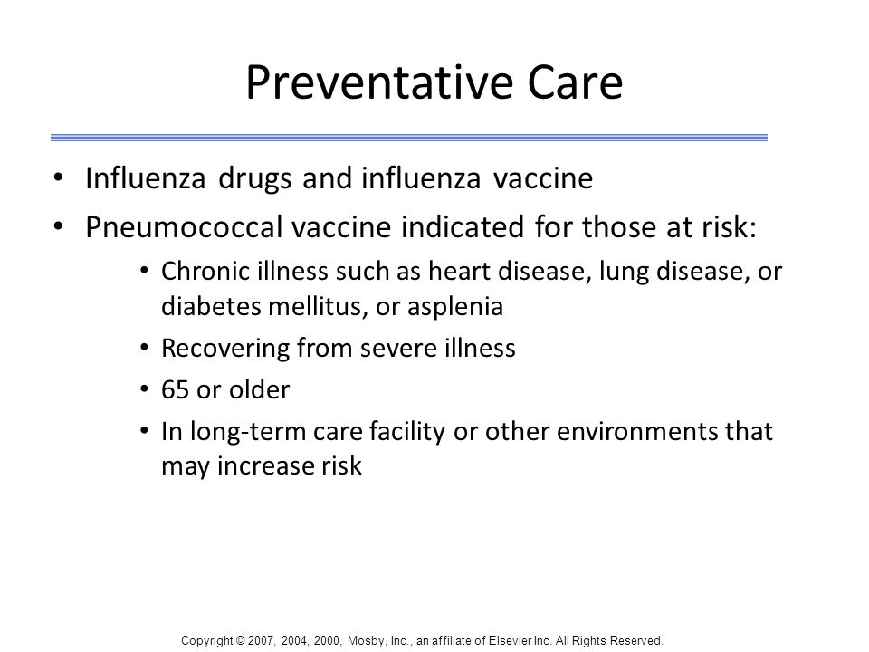 Preventative Care Influenza drugs and influenza vaccine