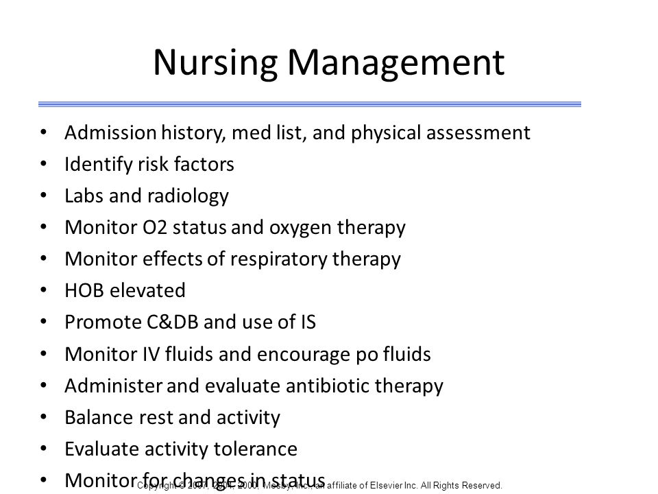 Nursing Management Admission history, med list, and physical assessment. Identify risk factors. Labs and radiology.