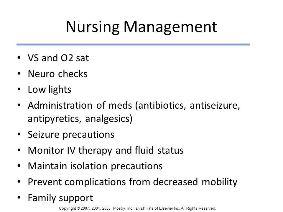 Nursing Management VS and O2 sat Neuro checks Low lights