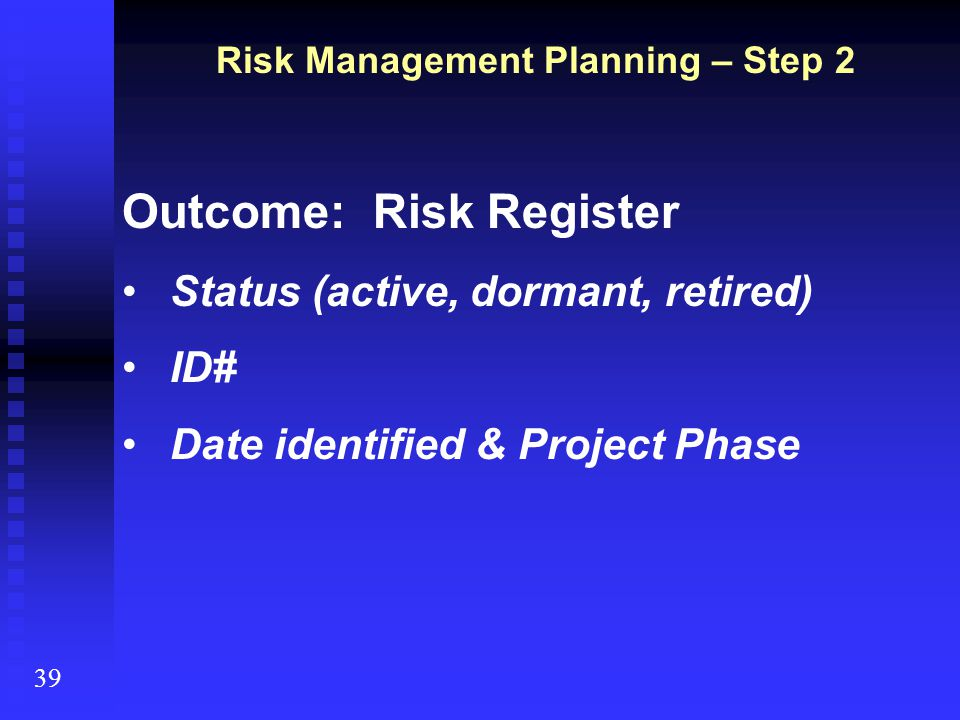 Risk Management Planning – Step 2