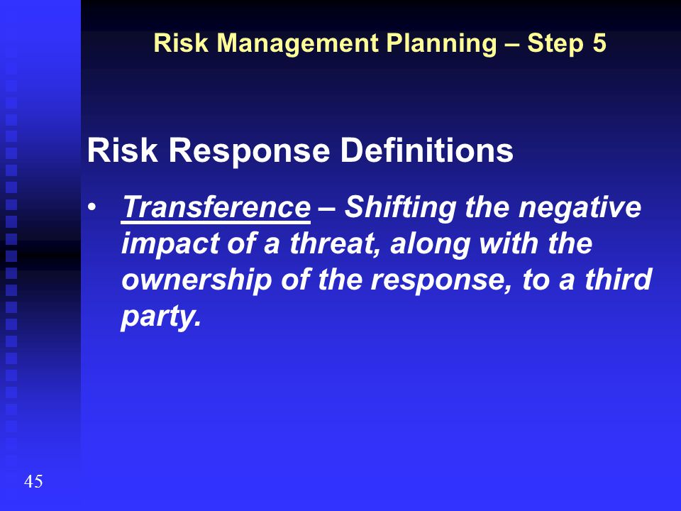 Risk Management Planning – Step 5