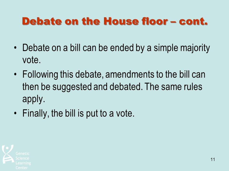 Debate on the House floor – cont.