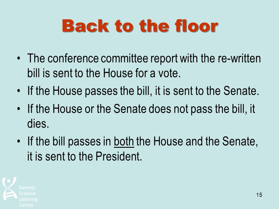 Back to the floor The conference committee report with the re-written bill is sent to the House for a vote.