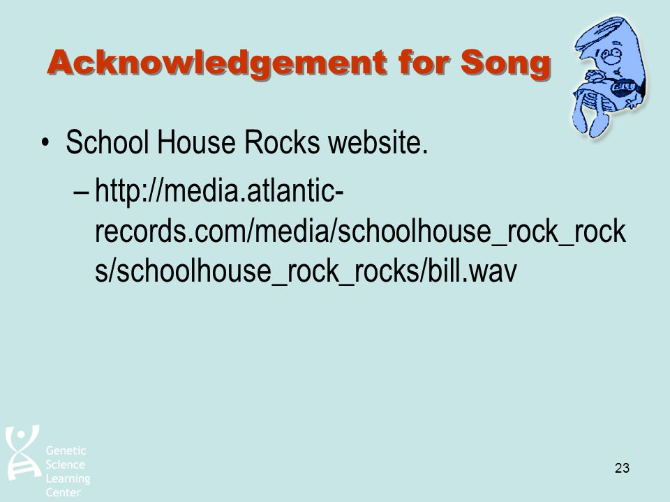 Acknowledgement for Song
