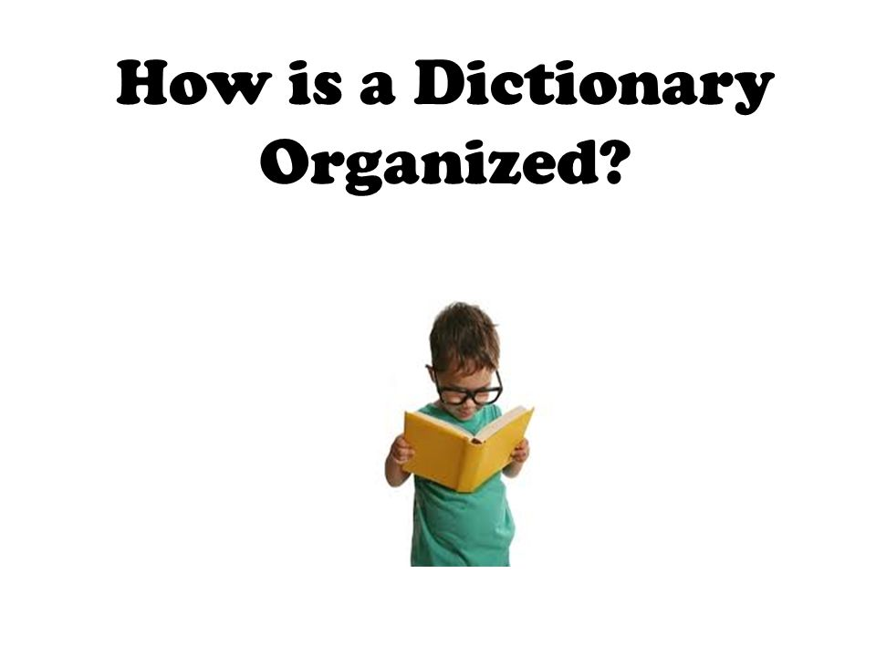 How is a Dictionary Organized