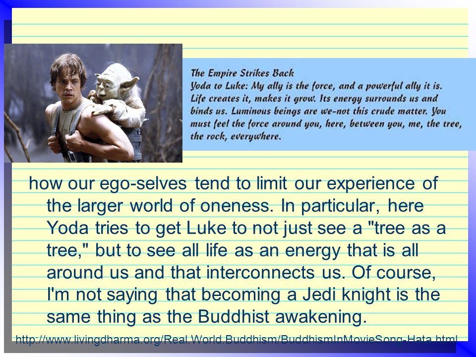 how our ego-selves tend to limit our experience of the larger world of oneness. In particular, here Yoda tries to get Luke to not just see a tree as a tree, but to see all life as an energy that is all around us and that interconnects us. Of course, I m not saying that becoming a Jedi knight is the same thing as the Buddhist awakening.