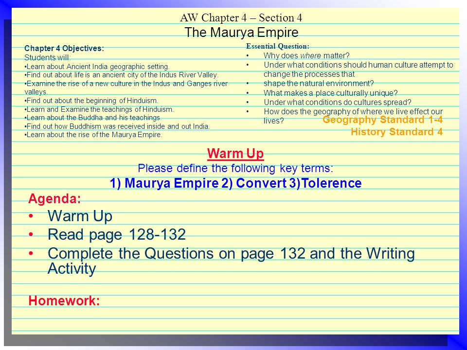 Complete the Questions on page 132 and the Writing Activity