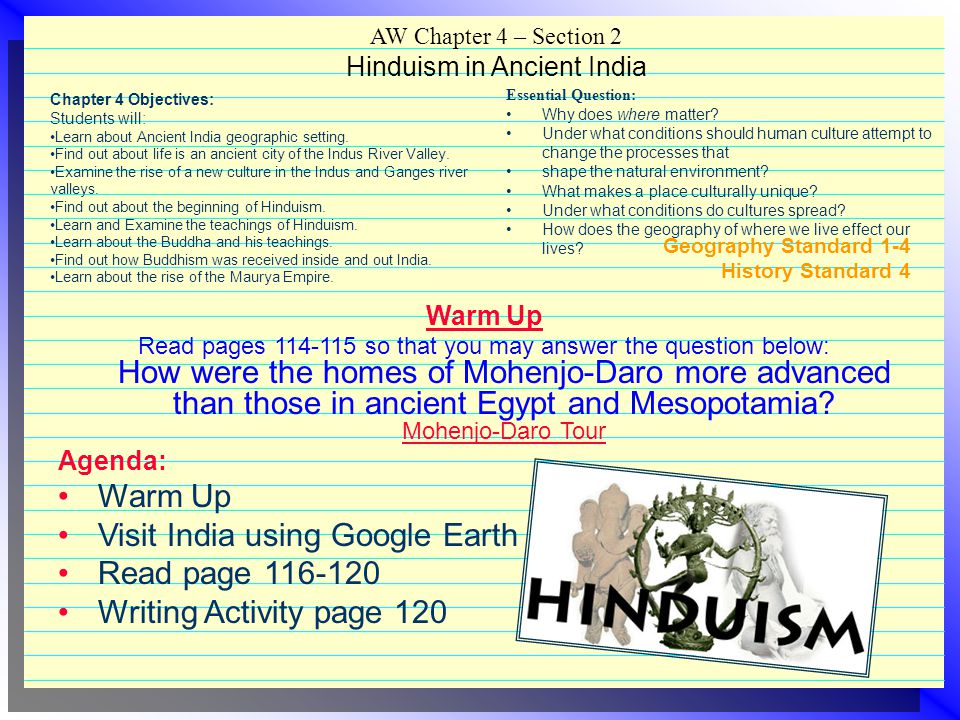 AW Chapter 4 – Section 2 Hinduism in Ancient India