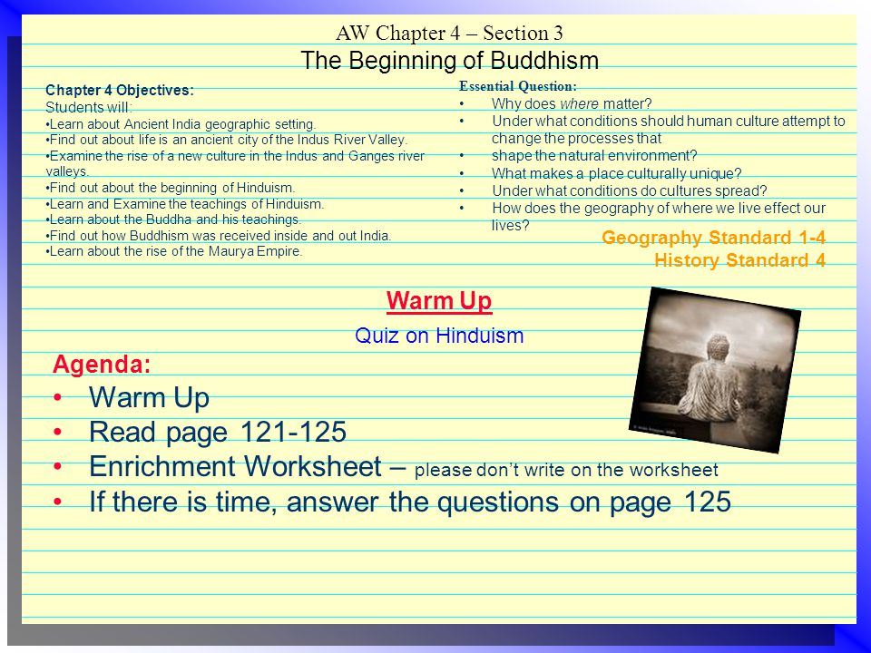 AW Chapter 4 – Section 3 The Beginning of Buddhism
