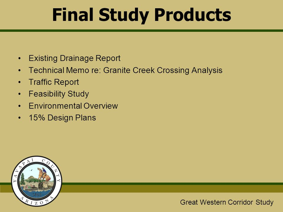 Final Study Products Existing Drainage Report