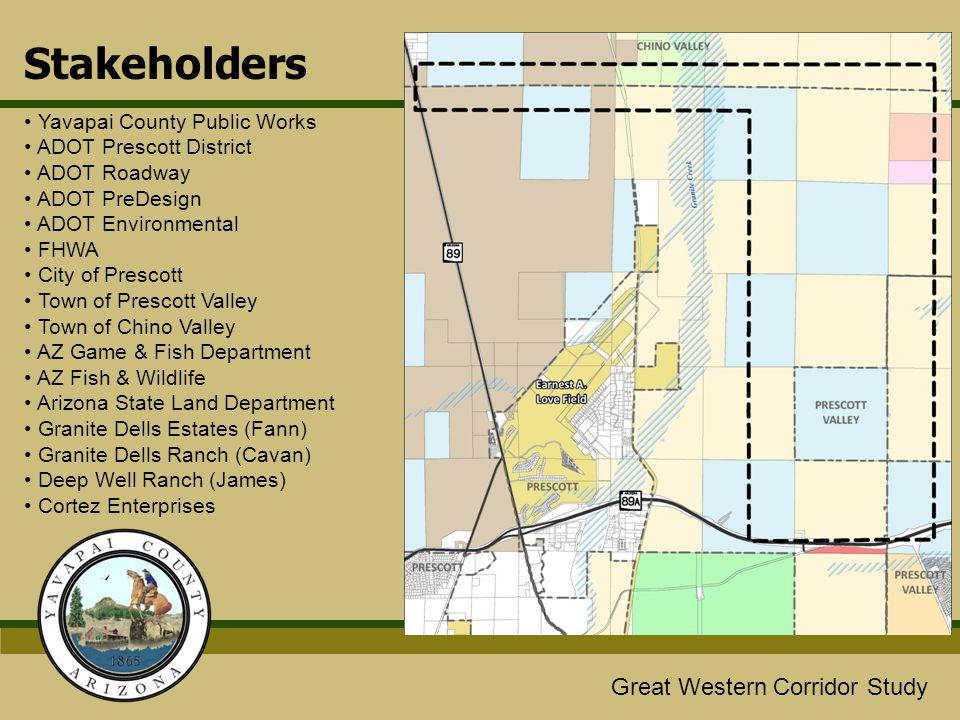 Stakeholders Yavapai County Public Works ADOT Prescott District