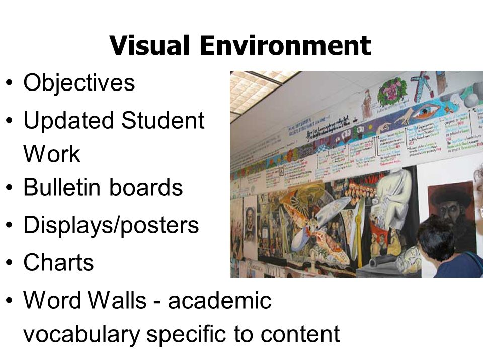 Visual Environment Objectives Updated Student Work Bulletin boards