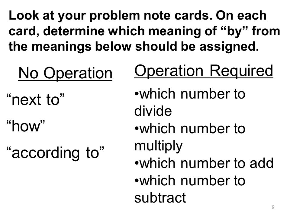 Operation Required No Operation next to how according to