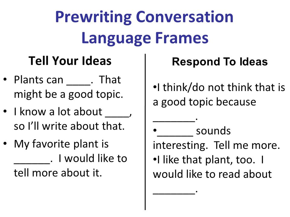 Prewriting Conversation Language Frames