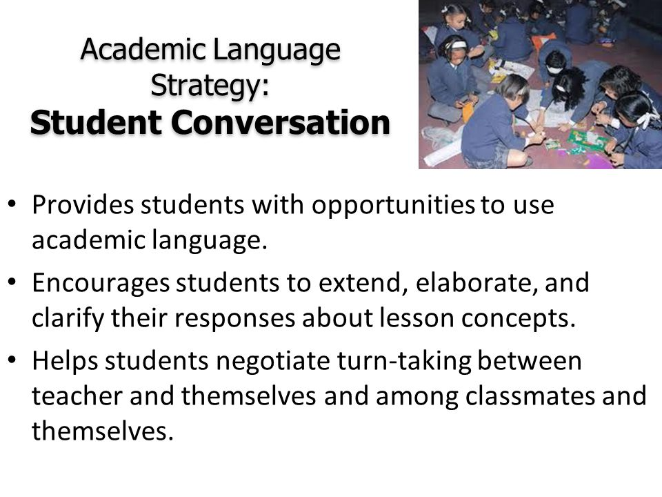 Academic Language Strategy: Student Conversation