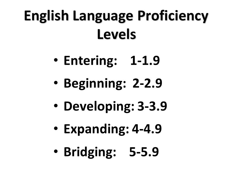 English Language Proficiency Levels