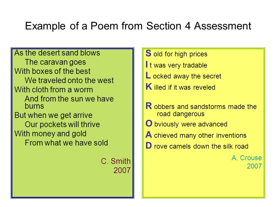 Example of a Poem from Section 4 Assessment