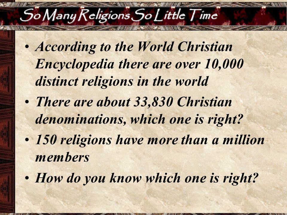 So Many Religions So Little Time