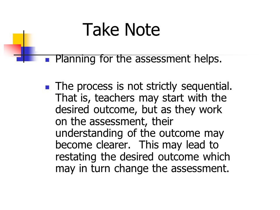 Take Note Planning for the assessment helps.