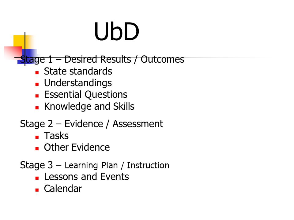 UbD Stage 1 – Desired Results / Outcomes State standards