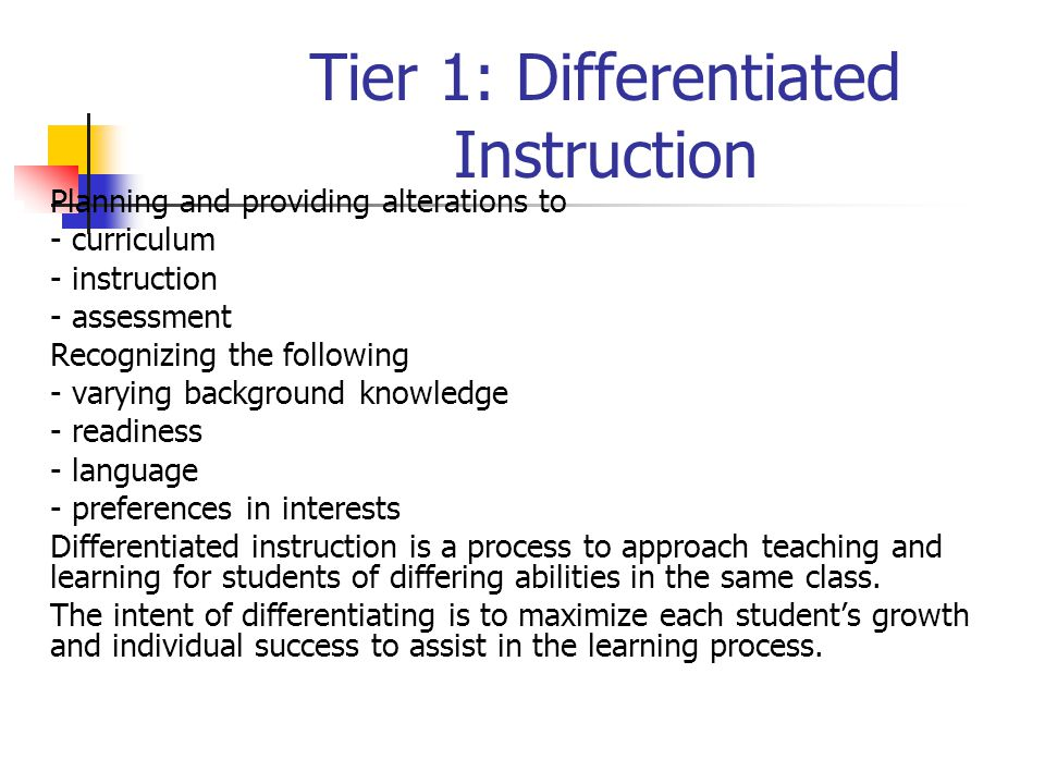 Tier 1: Differentiated Instruction