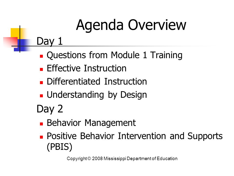 Agenda Overview Day 1 Day 2 Questions from Module 1 Training