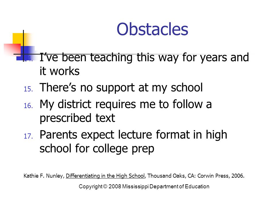 Obstacles I've been teaching this way for years and it works