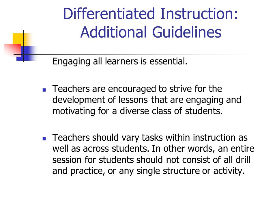 Differentiated Instruction: Additional Guidelines