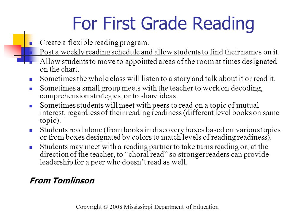 For First Grade Reading